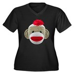 Sock Monkey Face Women's Plus Size V-Neck Dark T-S