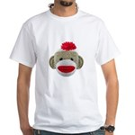Sock Monkey Face White T-Shirt