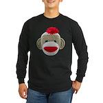 Sock Monkey Face Long Sleeve Dark T-Shirt