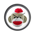 Sock Monkey Face Wall Clock