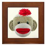 Sock Monkey Face Framed Tile