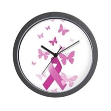 Pink Awareness Ribbon Wall Clock