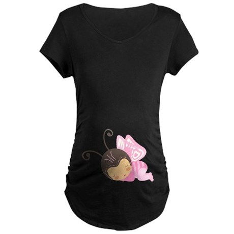 Sleeping Butterfly Baby belly print Maternity Dark
