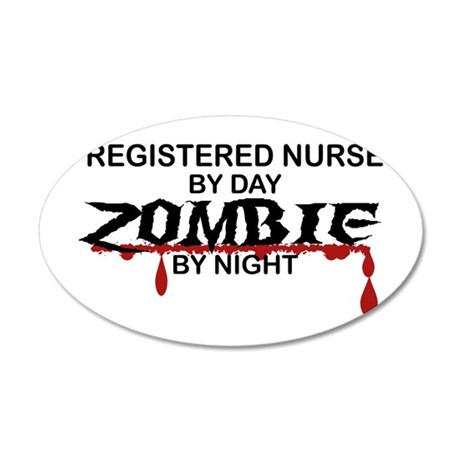 Registered Nurse Zombie 20x12 Oval Wall Decal