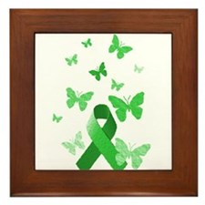 Green Awareness Ribbon Framed Tile