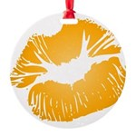 Big Orange Lips Round Ornament