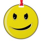 Smiley Face - Evil Grin Round Ornament