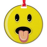 Smiley Face - Tongue Out Round Ornament