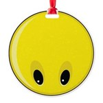 Smiley Face - Looking Down Round Ornament