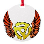 Red Winged 45 RPM Adap Round Ornament