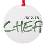 Green Sous Chef Round Ornament