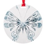 Blue Tribal Butterfly Tattoo Round Ornament