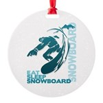 Eat Sleep Snowboard Round Ornament