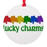 Rainbow Shamrock Lucky Charms Round Ornament