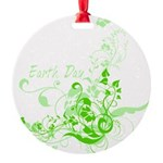 Earth Day Swirls Round Ornament