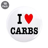 I Love Carbs Funny Diet 3.5&amp;quot; Button (10 pack)