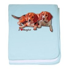 Two Beagles baby blanket