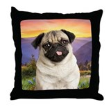 Pug Meadow Throw Pillow
