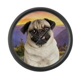 Pug Meadow Large Wall Clock
