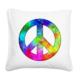 Retro tie-dyed peace sign Square Canvas Pillow