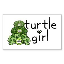 turtle girl Rectangle Bumper Stickers