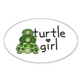 turtle girl Oval Bumper Stickers