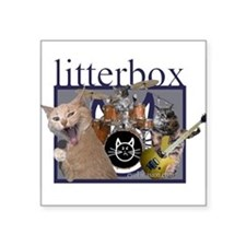 litterbox cat rock Rectangle Sticker
