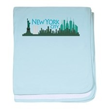 NYC Liberty Skyline dark baby blanket