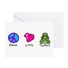 Peace, Love and turtles Greeting Cards (Package of
