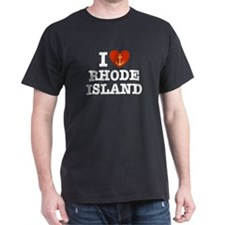 I Love Rhode Island Black T-Shirt