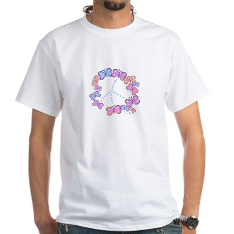 Butterfly Peace Men's White T-Shirt