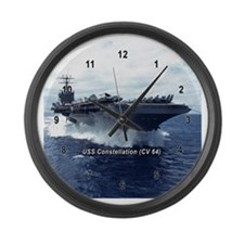 Cute Military uss constellation Large Wall Clock