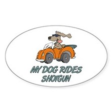 Dog Rides Shotgun Oval Decal