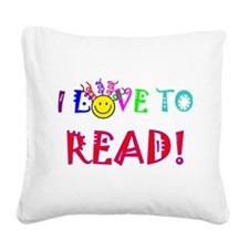 love to read drk.png Square Canvas Pillow