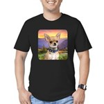 Chihuahua Meadow Men's Fitted T-Shirt (dark)