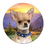 Chihuahua Meadow Round Car Magnet