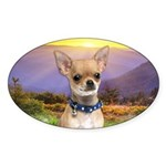 Chihuahua Meadow Sticker (Oval 10 pk)