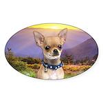Chihuahua Meadow Sticker (Oval 50 pk)