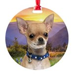 Chihuahua Meadow Round Ornament