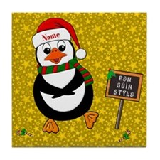 Add Name To Dancing Penguin Tile Coaster