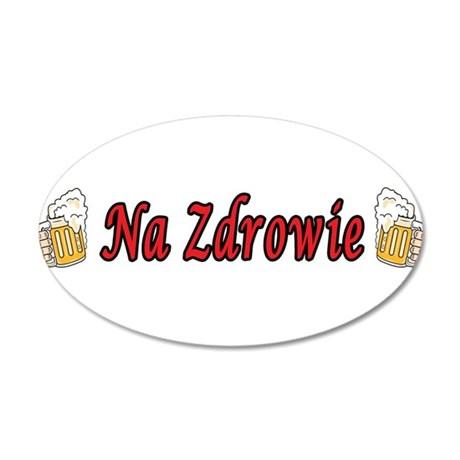 Na Zdrowie Toast Beer Mugs 35x21 Oval Wall Decal