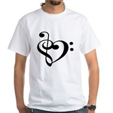 Treble Bass Clef Heart T-Shirt