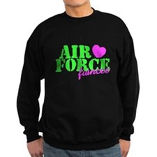 Air Force Fiancee Lime Green Heart Sweatshirt