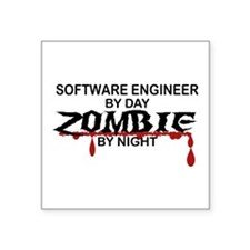 """Software Engineer Zombie Square Sticker 3"""" x 3"""""""