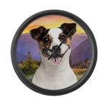 Jack Russell Meadow Large Wall Clock