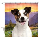 Jack Russell Meadow Shower Curtain