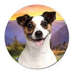 Jack Russell Meadow Round Car Magnet