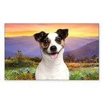 Jack Russell Meadow Sticker (Rectangle)