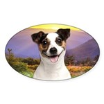 Jack Russell Meadow Sticker (Oval 10 pk)
