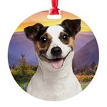 Jack Russell Meadow Round Ornament